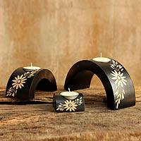 Wood candleholders, 'Lanna Daisies Black Arches' (set of 3) - Wood candleholders (3)