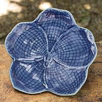 Celadon plate, 'Blue Vanda' - Floral Celadon Ceramic Serving Plate
