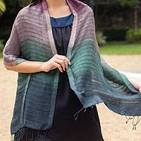 Silk scarf, 'Teal Evolution' - Handcrafted Tie Dye Silk Scarf