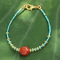 Gold accent carnelian beaded bracelet, 'Sun Fire' - Artisan Crafted Gold Accent Gemstone Bracelet