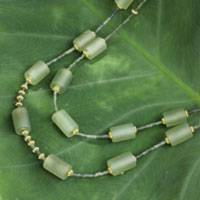 Gold accent serpentine beaded necklace, Quiet Meadow