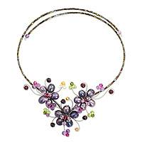 Cultured pearl and gemstone flower necklace, 'Purple Sonata'