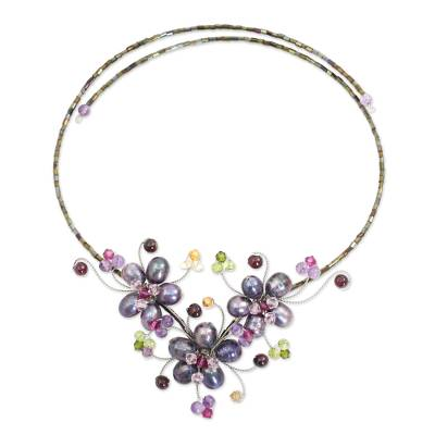 Cultured pearl and gemstone flower necklace, 'Purple Sonata' - Pearls and Multi-gemstone Necklace Artisan Jewelry