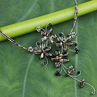 Smoky quartz flower necklace, 'Refinement' - Handmade Smoky Quartz Floral Necklace