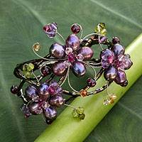 Cultured pearl and amethyst flower bracelet, 'Glorious'