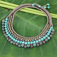 Beaded choker, 'Mystify' - Beaded Crocheted Choker Thai Artisan Jewelry