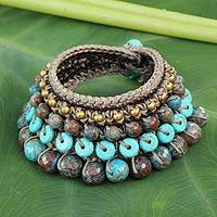Beaded wristband bracelet, 'Mystify' - Multi-gemstone Blue Green Bracelet Thai Artisan Jewelry