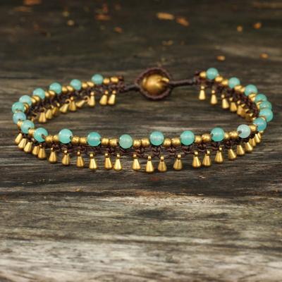 Brass anklet, 'Blue Dancer' - Brass Anklet Blue Quartz Artisan Crafted Jewelry
