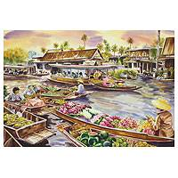 'Wat Sai Floating Market' - Thai Floating Market Original watercolour Painting