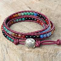 Gemstone wrap bracelet, 'Thai Rainbow' - Multi-gem Leather Wrap Bracelet