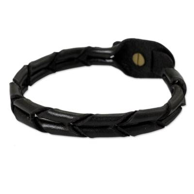 Handcrafted Black Braided Leather Bracelet for Men