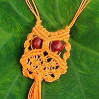 Cotton macrame pendant necklace, 'Orange Owl' - Orange Cotton Macrame Owl Necklace