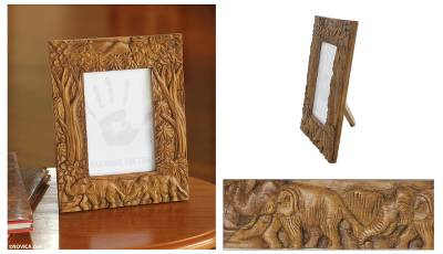 Teak photo frame, 'Never Forget' (4x6) - Hand Crafted 4x6 Teak Wood Photo Frame with Elephants