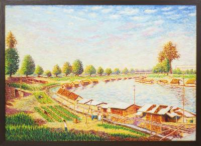 'Houseboat' - Thai Landscape Painting