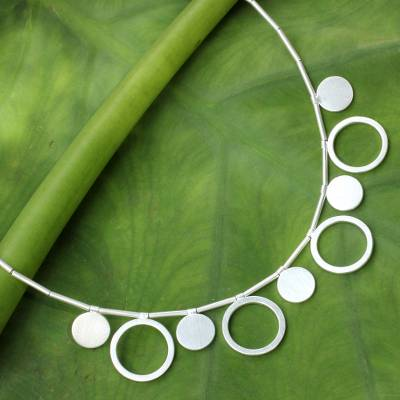 Necklace with a on it - Fair Trade Thai Jewelry Sterling Silver Ring