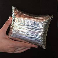 Sterling silver plated clutch handbag, 'Thai Weavings' (large) - Silver Plated Woven Clutch Handbag