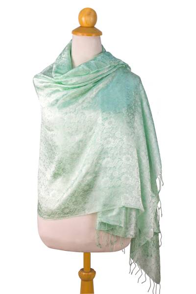 Rayon and silk blend shawl, 'Mandarin Mint' - Green Floral Damask Shawl