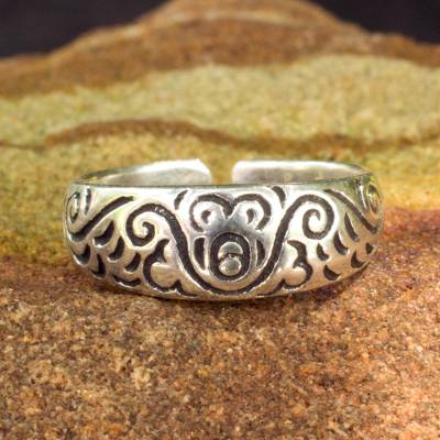 Sterling silver toe ring, 'Monkey Walk' - Toe Ring in Sterling Silver Thai Artisan Jewelry