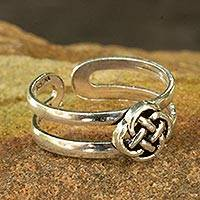 Sterling silver toe ring, 'Mandarin Walk'
