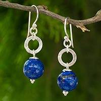 Lapis lazuli dangle earrings, 'Beloved Blue Planet' - Thai Hill Tribe Silver Earrings with Lapis Lazuli