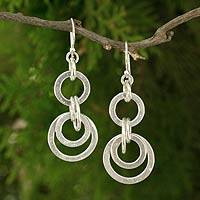 Silver dangle earrings, 'Modern Hill Tribe Family' - Thai Modern Hill Tribe Silver Earrings