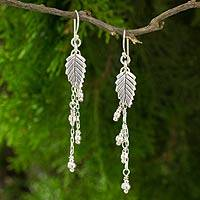 Silver dangle earrings, 'Hill Tribe Leaves' - Thai Hill Tribe Silver Earrings