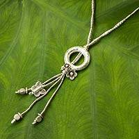 Silver flower necklace, 'Hill Tribe Fantasy' - Silver Beaded Necklace with Flowers and Butterfly