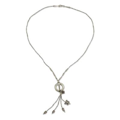 Silver Beaded Necklace with Flowers and Butterfly