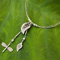 Silver flower necklace, 'Arum Dragonfly' - Hill Tribe jewellery Silver Pendant Necklace