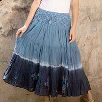 Cotton batik skirt, 'Blue Boho Chic' - Long Cotton Batik and Crochet Skirt from Thailand