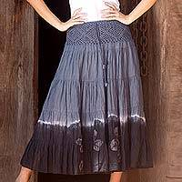 Cotton batik skirt, 'Grey Boho Chic' - Long Cotton Batik and Crochet Skirt from Thailand