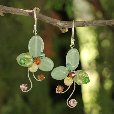Aventurine floral earrings, 'Glistening Clover' - Multi-gemstone Green Earrings Thai Artisan Jewelry