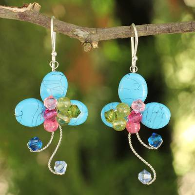 Beaded floral earrings, 'Glistening Clover' - Multi-gemstone Blue Earrings Thai Artisan Jewelry