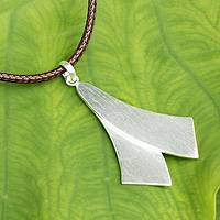 Men's sterling silver pendant necklace, 'Crossing Swords' - Fair Trade Sterling Silver Necklace for Men Jewelry