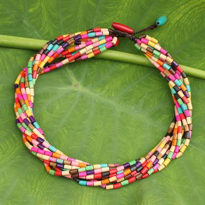 Wood torsade necklace, 'Phuket Belle' - Artisan Crafted Wood Beaded Necklace in Rainbow Colors