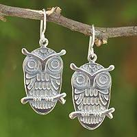 Sterling silver dangle earrings, 'Hipster Thai Owls' - Fair Trade Sterling Silver Earrings Thai Jewelry