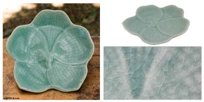 Celadon ceramic serving plate, 'Light Blue Vanda' - Floral Celadon Ceramic Serving Plate