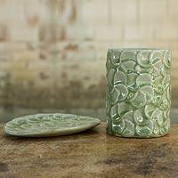 Celadon ceramic soap dish and tumbler, 'Green Frangipani' (set of 2) - Green Frangipani Celadon Ceramic Tumbler and Soapdish