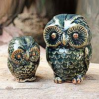 Celadon ceramic figurines, 'Little Green Owls' (pair)