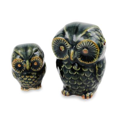Celadon ceramic figurines, 'Little Green Owls' (pair) - Celadon Ceramic Figurines from Thailand (pair)