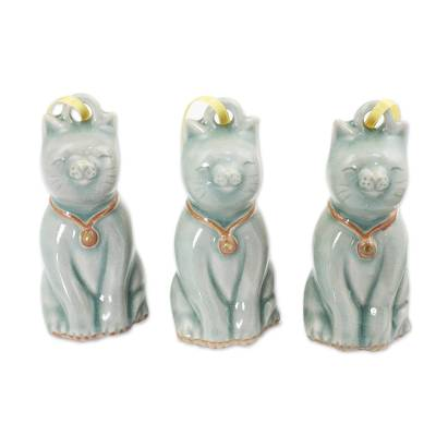 Artisan Crafted Celadon Ceramic Ornaments (set of 3)