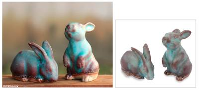 Ceramic figurines, 'Joyful Rabbits' (pair) - Handcrafted Ceramic Rabbit Figurines in Turquoise (pair)