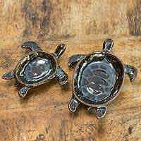 Ceramic bowls, 'Indigo Thai Turtles' (pair) - Handcrafted Ceramic Bowls from Thailand (pair)