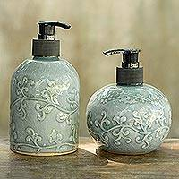 Celadon ceramic soap dispensers, 'Sky Floral' (pair) - Light Aqua Celadon Ceramic Liquid Soap Dispensers (Pair)