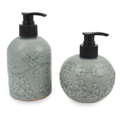 Light Aqua Celadon Ceramic Liquid Soap Dispensers (Pair)