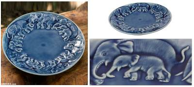 Celadon ceramic plate, 'Blue Elephant Herd' - Celadon Ceramic Plate from Thailand