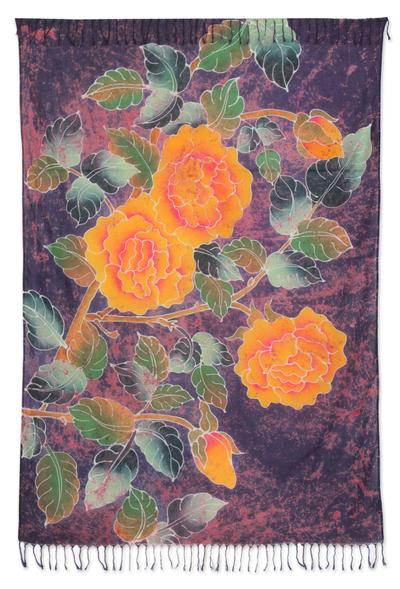 Cotton Batik Sarong Purple and Gold