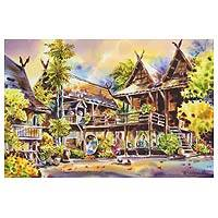 'Ruan Galae l' - Traditional Thai House Watercolor Painting