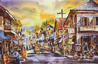 'Old Wat Ket Neighborhood' - Watercolor Painting from Thailand