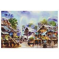 'Amphawa Floating Market ll' - Signed Watercolor Painting